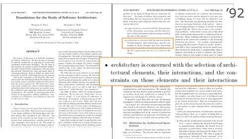 Perry and Wolf definition of sw architecture